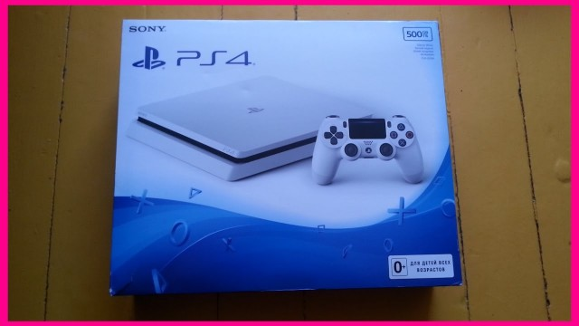 РАСПАКОВАКА видео приставки Sony Playstation 4 Slim цвет БЕЛЫЙ ЛЕДНИК